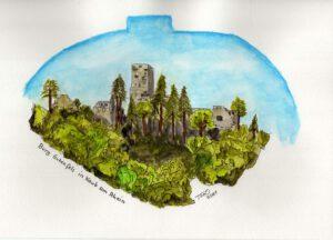 Aquarell: Die Burg Gutenfels