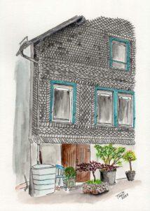 Aquarell: Haus Moye, Blücherstraße